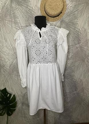 Красивое коттоновое платье  из прошвы   принт плаття в идеальном состоянии от фирмы 🖤influence 🖤