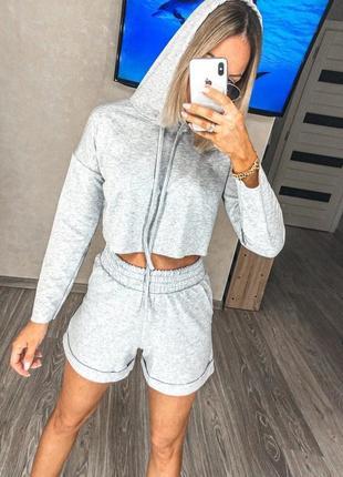 Костюм женский с шортами свитшот топ летний легкий свободный черный серый