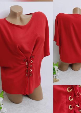 Женская красная блуза блузка ,со шнуровкой свободная