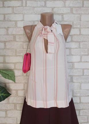 Фирменная mango блуза со 100 % вискозы в нежном розовом с бантом, размер л-хл