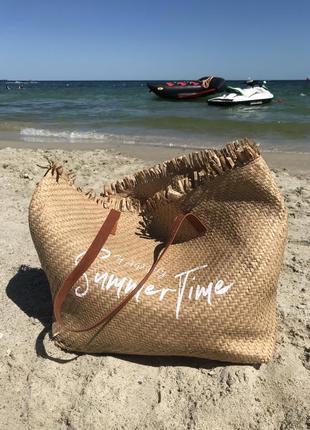 Сумка шоппер пляжная соломенная
