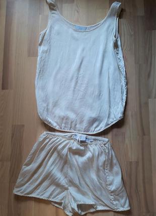 Комплект для сну, майка і шортики, натуральний шовк, шелк