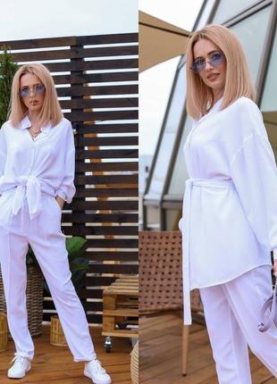 Льняной костюм рубашка длинный рукав женская брюки штаны льняные