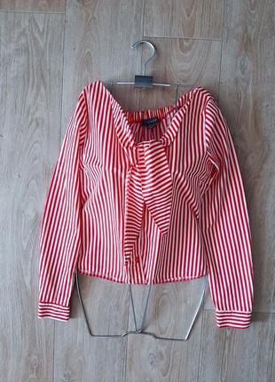 Блуза хлопковая с открытыми плечиками в красно-белую полоску