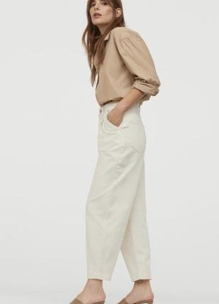 Укороченые брюки из твила h&m m-l