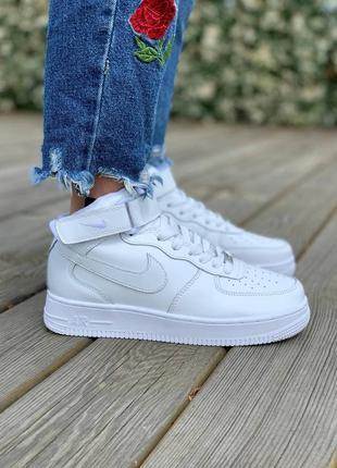 Крутые женские белые кроссовки эйр форс, топ качество