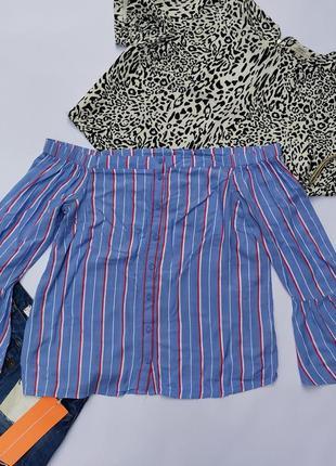 Как новая блуза кофта со спущенными плечами  в полоску базовая большого размера