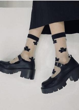 Туфли черные ретро на масивной подошве/38р.
