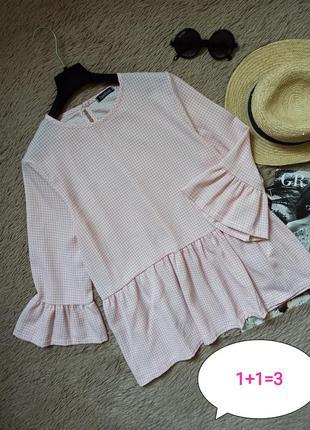 Шикарная клетчатая блузка с воланом/блуза/кофточка