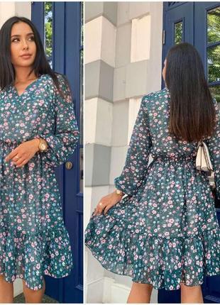 Платье в цветочек🌸🌸🌸 ткань шифон
