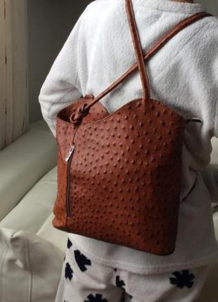Рюкзак сумка трансформер красный кожаный страусиная кожа