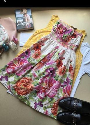 Легке котонове платтячко в квіти натуральный лёгкий сарафан цветы пляж лето