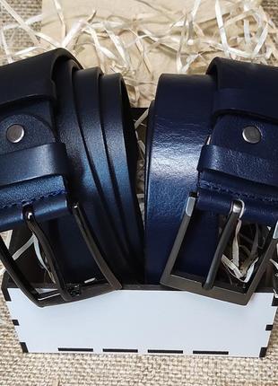 Ремень мужской кожаный синий