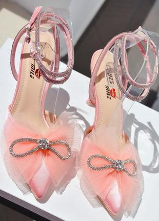 Туфли с бантиком з стразами розовые