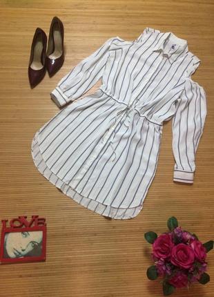 Красивое платье рубашка, в полоскуразмер l