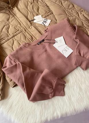 Розовый/пудровый свитшот/кофта с наплечниками зара/zara