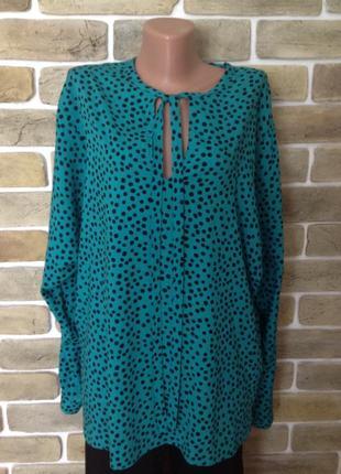 Новая блуза рубашка туника  рукав реглан в горошек размер 16