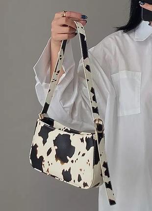 Сумка сумочка багет корова буренка принт клатч