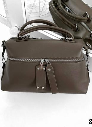 👜популярная женская сумка на два отдела цвета хаки