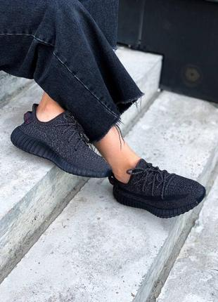 Женские кроссовки adidas yeezy 350 black full reflective (полный рефлектив)