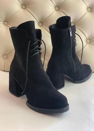 Замшеві ботильйони ботинки на каблуку демисезоннідемі зимові на цигейці замшевые ботильйоны зимние на цигейке осенние