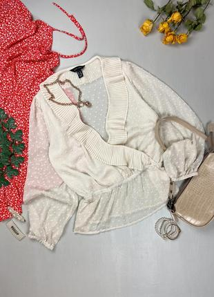 Шифоновая молочная блуза  винтажная  с рюшами в горошек new look