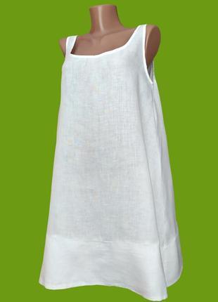 Летнее белое льняное женское платье