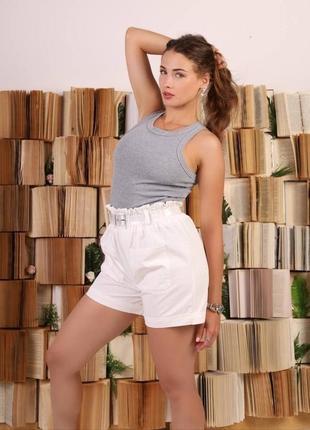 Женские белые шорты с поясом 42-46 р