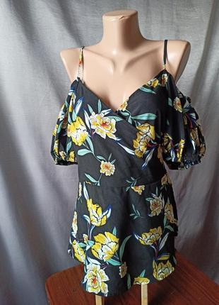 Блузка кармен цветочный принт