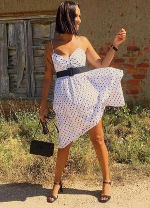 Белый сарафан платье в чёрный горошек zara  с поясом