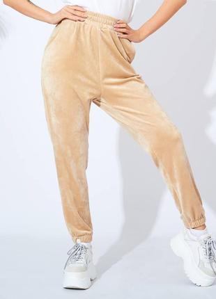 Женские штаны велюр синий беж