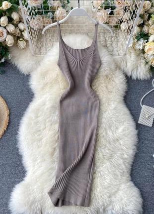 Базовое платье майка трикотаж рубчик, лапша