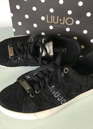 Черные кружевные кеды бренд liu*jo с логотипом оригинал италия