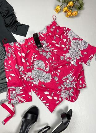 Блуза цвета фуксия в цветочный принт з открытыми плечиками f&f