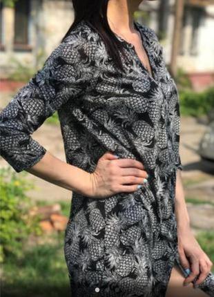 Платье рубашка h&m туника в принт ананас