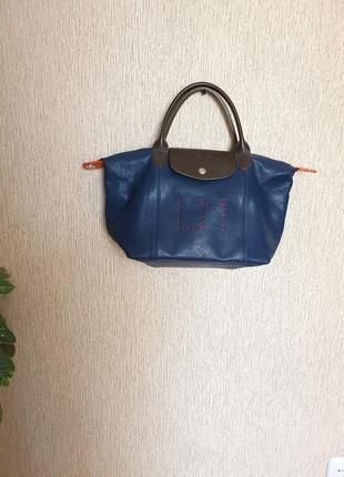Стильная кожаная персонализированная сумка le pliage cuir от longchamp, оригинал