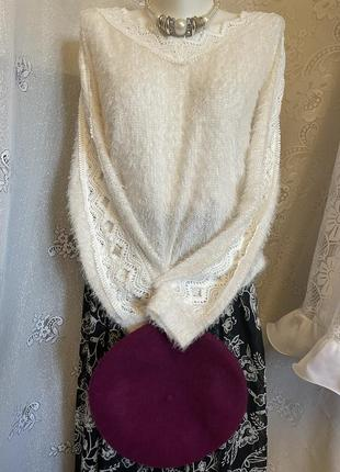 Белый нарядный пуловер свитер блуза с прошвой травка