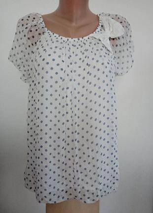 Шелковая блуза  в горошек