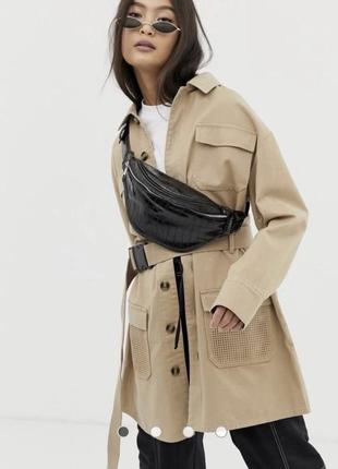 Шикарный плотный тренч платье - пиджак с поясом на фартексе