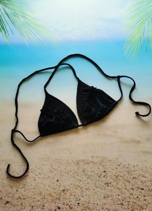 Чёрный лиф шторка с рюшами, воланами, чашка в/с