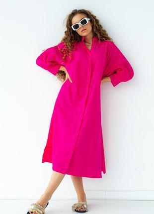 Хлопковое платье миди в стиле рубашки