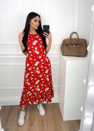 Женское платье миди с цветочным принтом3 фото