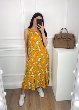 Женское платье миди с цветочным принтом