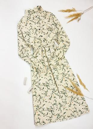 Вельветовое платье миди в цветочный принт