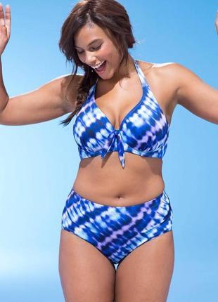 Синий раздельный купальник тай дай больших размеров л хл 2хл 3хл 4хл