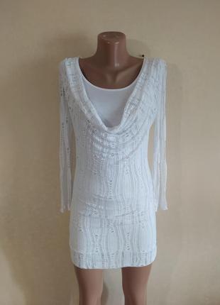 Туника платье мини белая нежная красивая сетка вискоза