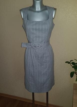 Платье сарафан в клетку с поясом
