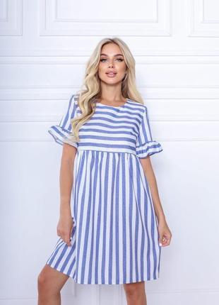 Женское платье миди свободного кроя в полоску лён1 фото
