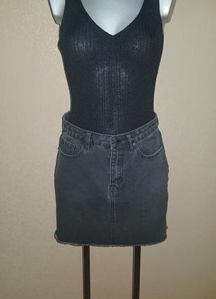 Джинсовая плотная юбка высокая посадка