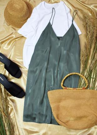 """М""""ятне сатинове плаття-комбінація міді на бретельках"""